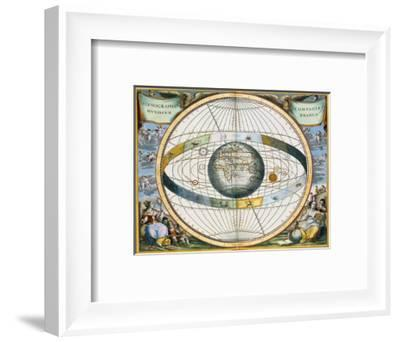 Map showing Tycho Brahe's system of planetary orbits around the Earth, 1660-1661-Andreas Cellarius-Framed Giclee Print