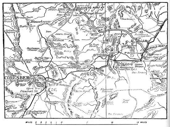 'Map to Illustrate the Operations Round Colesberg', 1902-Unknown-Giclee Print