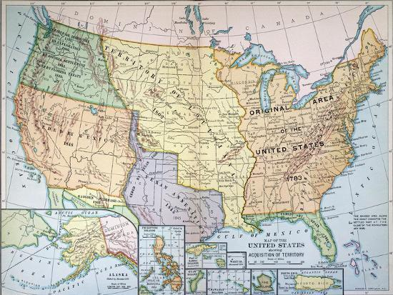 Map: U.S. Expansion, 1905 Giclee Print by | Art.com
