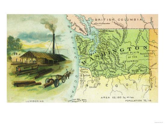Map View of the State with a Lumbering Scene - Washington-Lantern Press-Art Print