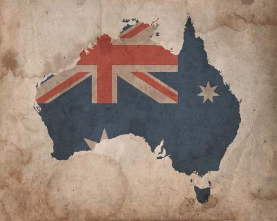 Map with Flag Overlay Australia-Color Me Happy-Art Print