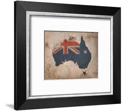 Map with Flag Overlay Australia-Color Me Happy-Framed Art Print