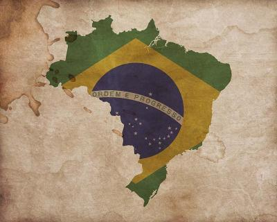 Map with Flag Overlay Brazil-Color Me Happy-Art Print
