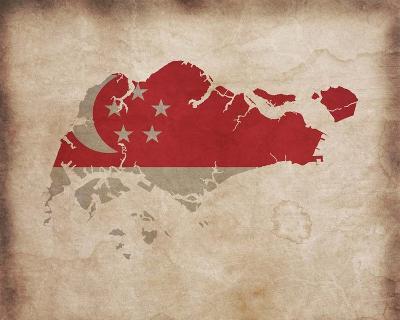 Map with Flag Overlay Singapore-Take Me Away-Art Print