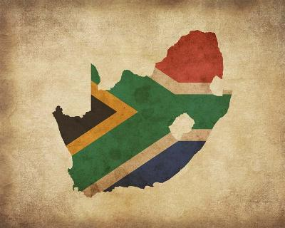 Map with Flag Overlay South Africa-Color Me Happy-Art Print