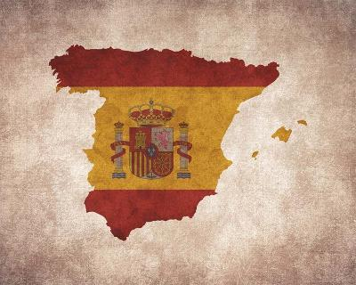 Map with Flag Overlay Spain-Color Me Happy-Art Print
