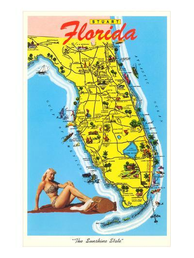 Map with Florida Attractions--Art Print