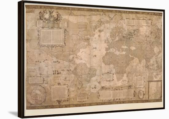 Map World Antique Paper 1500 S Framed Canvas Print By Gerardus