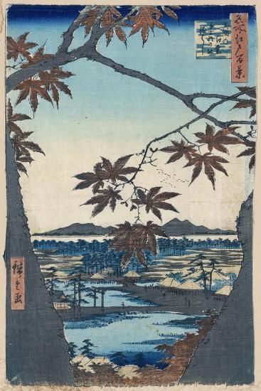 Maple Leaves and the Tekona Shrine and Bridge at Mama, 1856-1858-Utagawa Hiroshige-Giclee Print