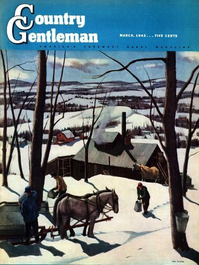 """""""Maple Sap Harvest at Dusk,"""" Country Gentleman Cover, March 1, 1942-Paul Sample-Giclee Print"""