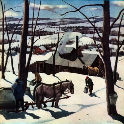"""Maple Sap Harvest at Dusk,""March 1, 1942-Paul Sample-Giclee Print"