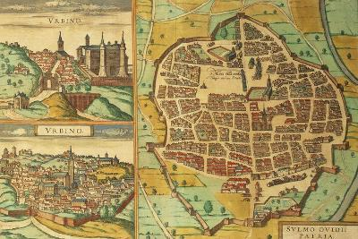 Maps of Urbino and Sulmona, Abruzzo and Marches Regions, Italy--Giclee Print