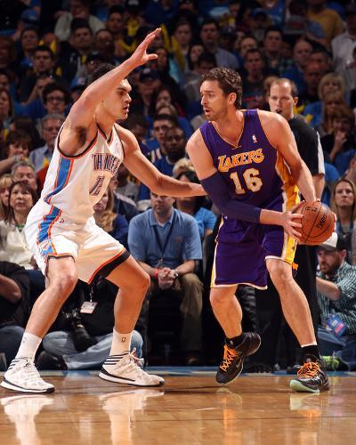Mar 13, 2014, Los Angeles Lakers vs Oklahoma City Thunder - Pau Gasol-Layne Murdoch-Photo
