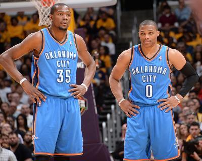 Mar 9, 2014, Oklahoma City Thunder vs Los Angeles Lakers - Kevin Durant, Russell Westbrook-Andrew Bernstein-Photo