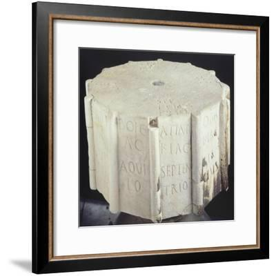 Marble Base from an Anemometer Engraved with the Cardinal Points--Framed Giclee Print