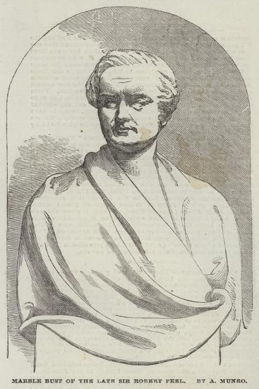 Marble Bust of the Late Sir Robert Peel, by a Munro--Giclee Print