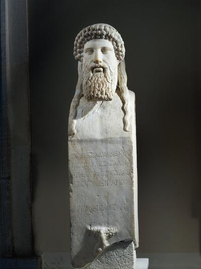 Marble Cippus with Head of Hermes, Copy after Original by Alkamenes of 5th Century B.C.--Giclee Print