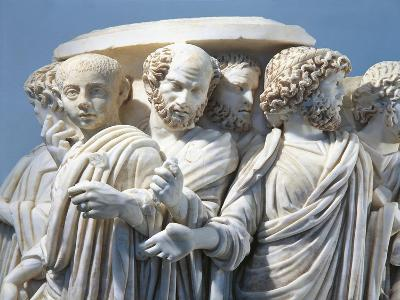 Marble Fragment of Acilia Sarcophagus Depicting Roman Senate During Procession--Giclee Print