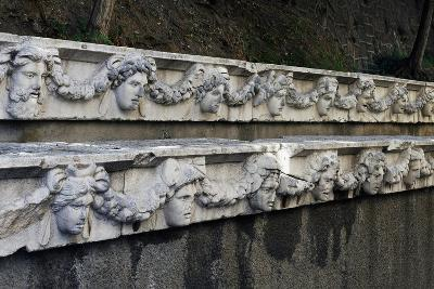 Marble Frieze with Male Heads and Fruit Garlands--Giclee Print