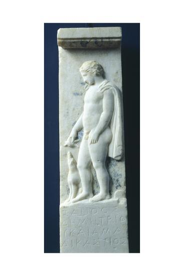 Marble Funerary Stele with Relief Depicting Young Deceased Man and Inscription--Giclee Print