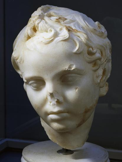 Marble Head of Eros, Copy of Original by Lysippos--Giclee Print