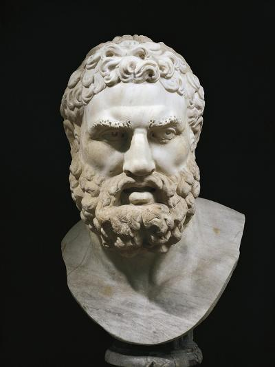 Marble Head of Heracles, Copy of Greek Original by Lysippus--Giclee Print