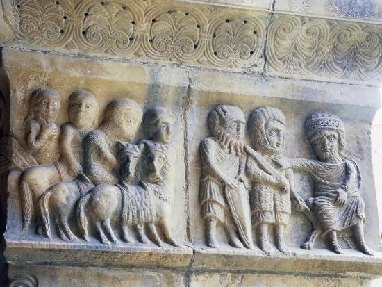 Marble Pillar with Relief Depicting King and His Knights--Giclee Print