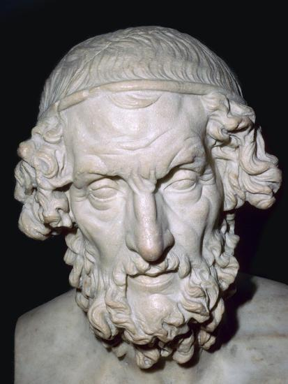 Marble portrait bust of Homer, Roman, from Baiae, Campania, Italy, 1st-2nd century. Artist: Unknown-Unknown-Giclee Print