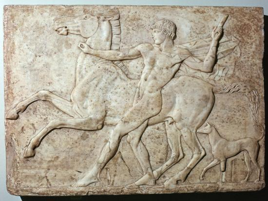 Marble Roman relief of a boy and a horse, Hadrian's villa, 1st century-Unknown-Giclee Print