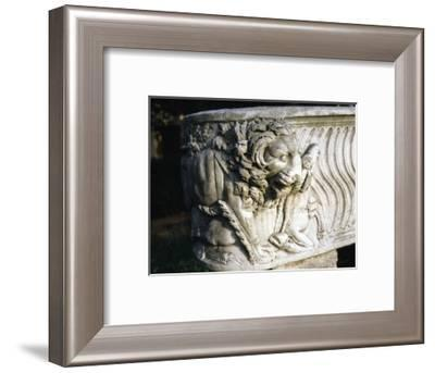Marble sarcophagus decorated with a lion killing a deer, Isola Sacra cemetery, near Ostia, Italy-Werner Forman-Framed Photographic Print