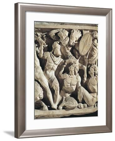Marble Sarcophagus known as Amendola Sarcophagus with Battle Scenes Between Romans and Barbarians--Framed Giclee Print