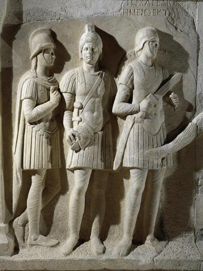 Marble Sarcophagus of Prefect Tiberius Flavius Miccalus, Detail of Three Soldiers of Escort--Giclee Print