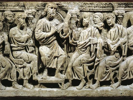 Marble Sarcophagus, Relief Depicting Jesus Christ Teaching Apostles, from Rignieux-Le-Franc--Giclee Print