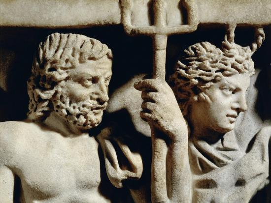 Marble Sarcophagus, Relief Depicting Prometheus Myth, Detail, Faces of Neptune and Amphitrite--Giclee Print