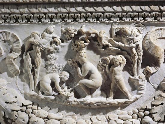 Marble Sarcophagus with Reliefs Representing Divinities and Garlands--Giclee Print