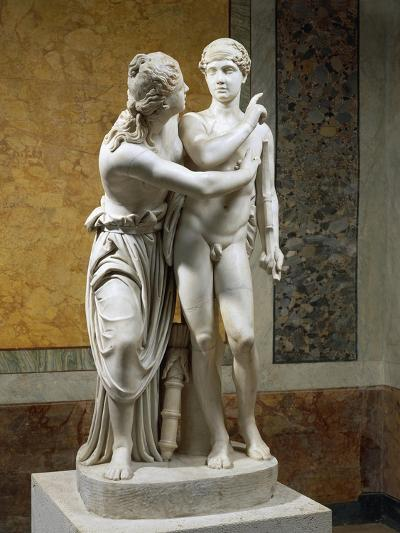 Marble Sculpture Group Portraying Cupid and Psyche--Giclee Print