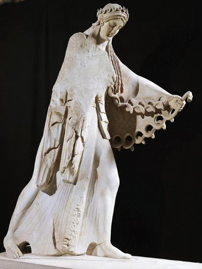 Marble Statue of Athena from East Pediment of Temple of Athena Polis Depicting Gigantomachy--Giclee Print