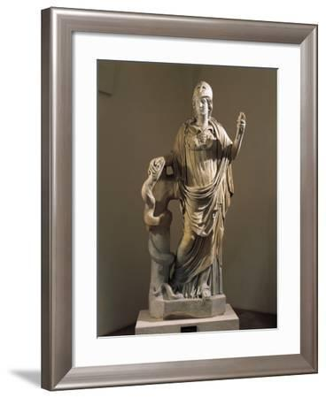 Marble Statue of Athena with Snake--Framed Giclee Print