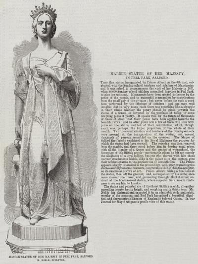 Marble Statue of Her Majesty in Peel Park, Salford, M Noble, Sculptor--Giclee Print