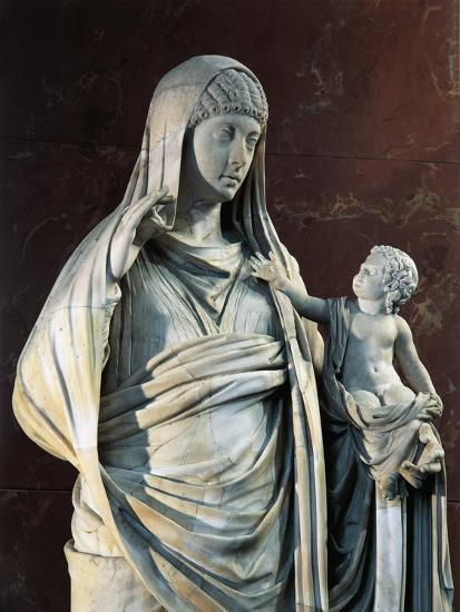 Marble Statue of Messalina Holding Britannicus, from Rome Surroundings, Detail--Giclee Print