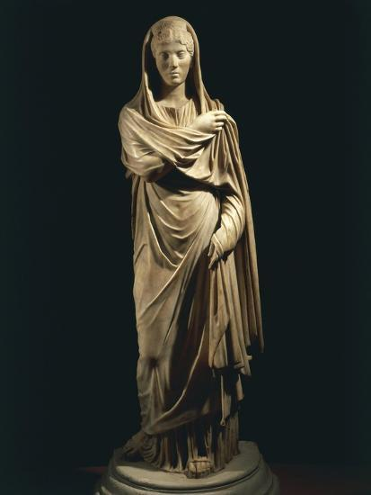 Marble Statue Portraying Roman Matron, from Colony of Cirta, Algeria--Giclee Print