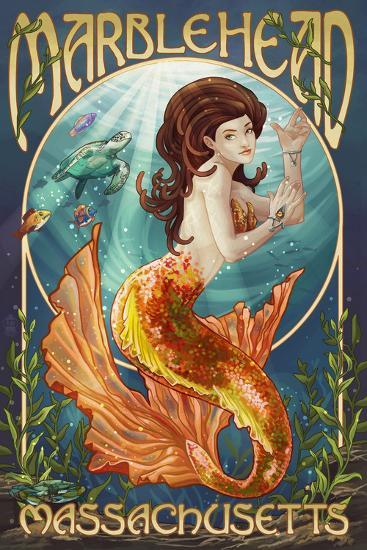 Marblehead, Massachusetts - Mermaid-Lantern Press-Art Print