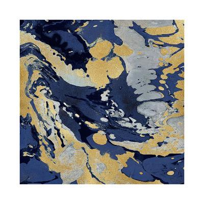 Marbleized in Gold and Blue II-Danielle Carson-Giclee Print