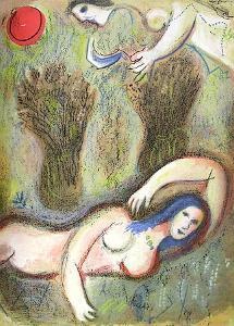 Bible: Booz Se Réveille et Voit Ruth by Marc Chagall