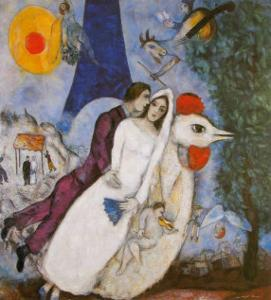 Bridal Couple with Eiffel Spride by Marc Chagall