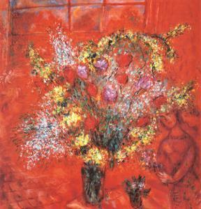 Fleurs Sur Fond Rouge, c.1970 by Marc Chagall