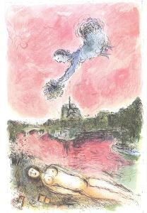 Floral Offering over Paris by Marc Chagall