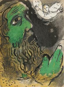 "Job at prayer from ""Drawings for the Bible"" by Marc Chagall"
