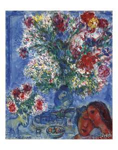Les Amoureux et Fleurs, 1964 by Marc Chagall