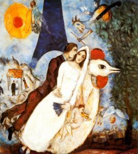 Les Fiancees de la Tour Eiffel by Marc Chagall